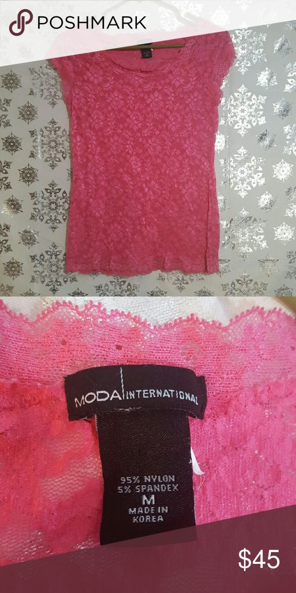 Moda International Pink Lace Top Great Condition. Lace is see through. Moda International Tops