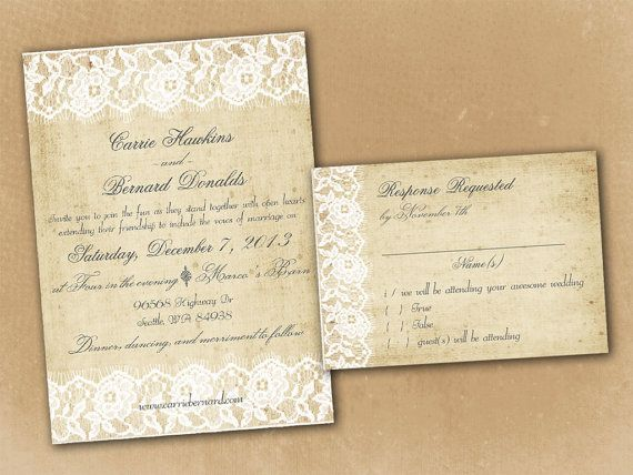 Wedding Invitation And Rsvp Card Suite Vintage Rustic