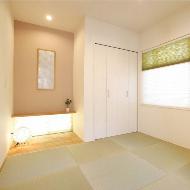 tokinoさんの、部屋全体,飾り棚,和室,手ぬぐい,カウンター,アクセントクロス,フレーム,プリーツスクリーン,無垢床,四畳半,和モダン,床の間,sousou,琉球畳,のお部屋写真