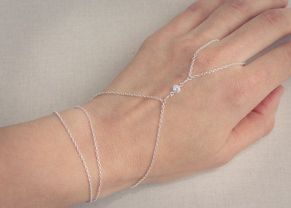 Sterling Silver CZ Hand Chain Ring Wrist Slave by MyGDesigns, $49.00