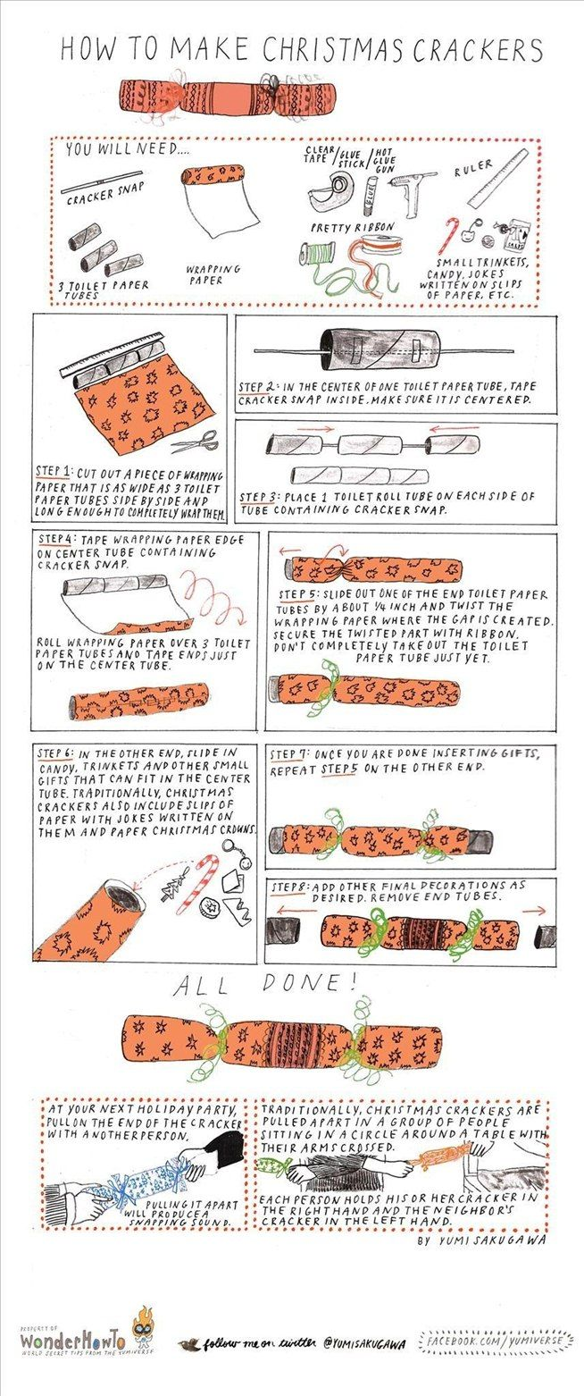 Christmas crackers - not always available in the US but so much fun. Why not make your own? Don't forget to add some paper hats to the contents!