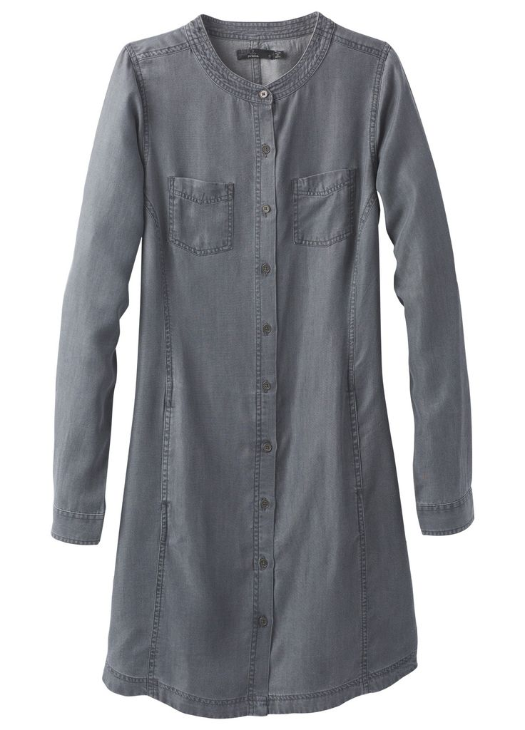 Prana   Aliki Shirt Dress - Grey Wash (add belt; tencel - super soft)