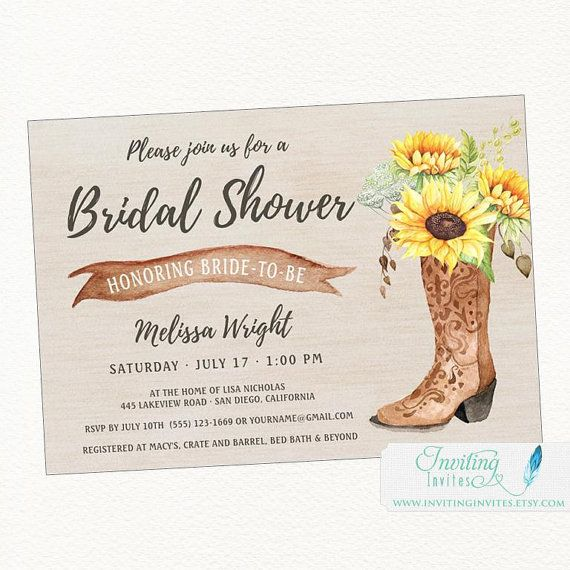 Cowboy Boot Sunflower Rustic Bridal Shower by InvitingInvites