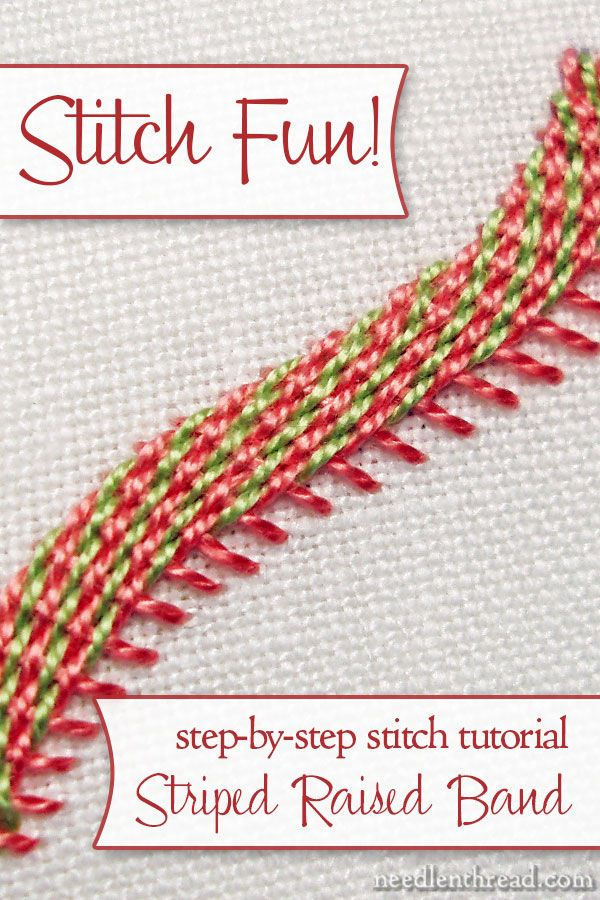 A raised, diagonally striped band to add to your hand embroidery projects! Looks complicated, but this stitch tutorial will take you through it step-by-step, and you'll see how easy it really is!