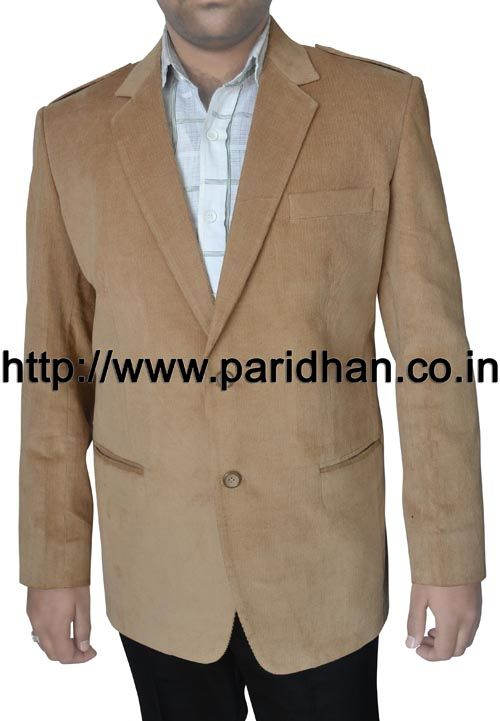 Mens two button blazer made in tan color corduroy fabric. Sold with a 6