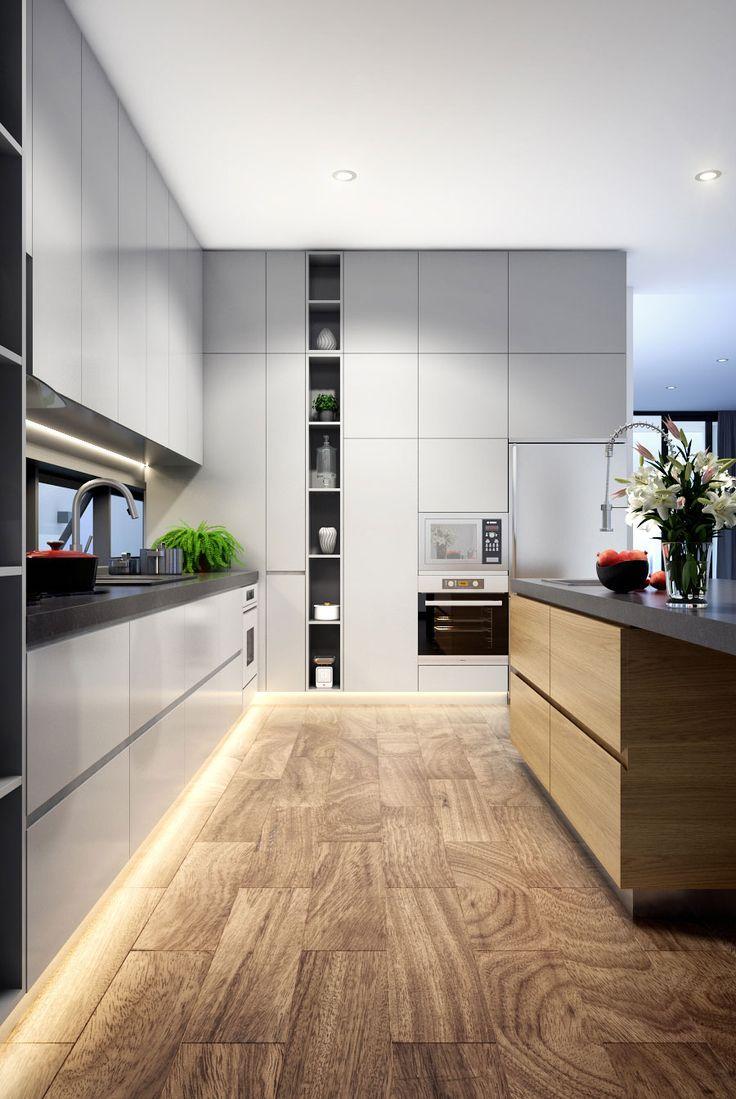 Cucina moderna con pavimenti in legno, mobili bianchi, inserti in  acciaio inox e piani in cemento per un design moderno d'interni