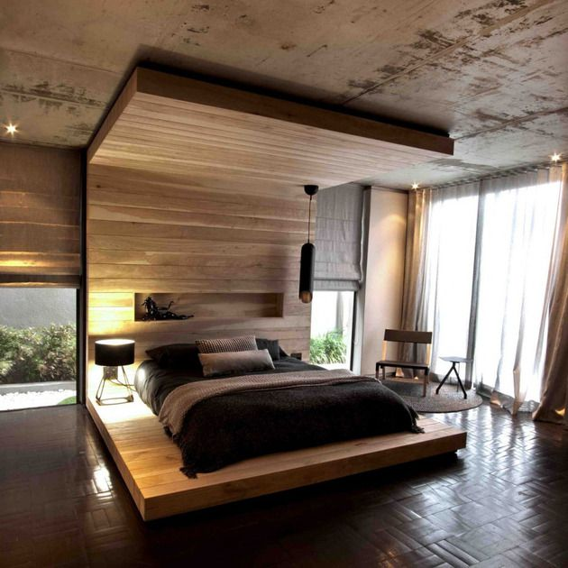 Timber Floor Wall And Ceiling Bed Adds Organic Touch - http://www.decorismo.com/interior-design-ideas/timber-floor-wall-and-ceiling-bed-adds-organic-touch/