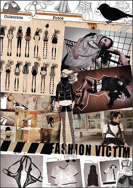 """""""Fashion Victim"""" concept board; fashion design moodboard"""