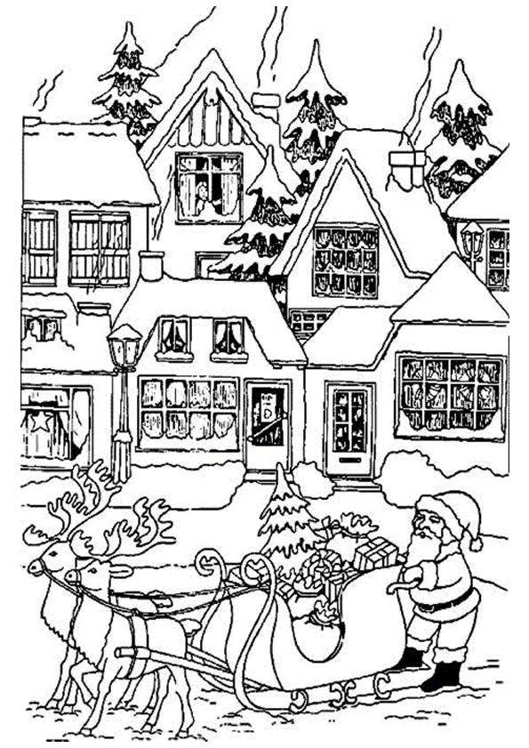 A colorier, le Père Noël qui arrive en ville pour partager les cadeaux