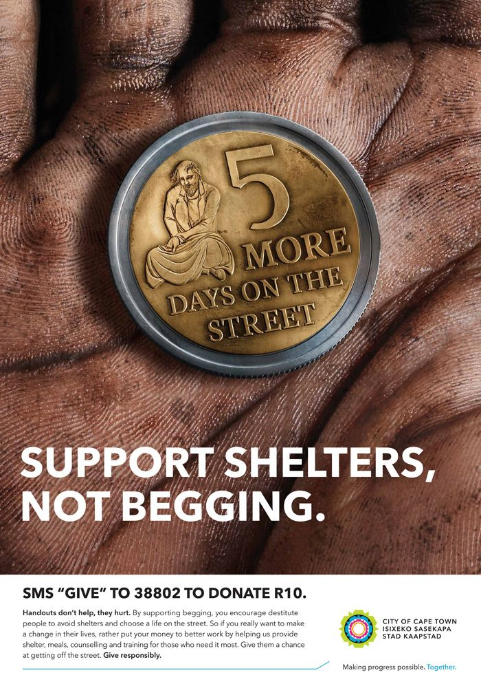 Support Shelters, Not Begging. Coins: by Disko Ferdi Dick