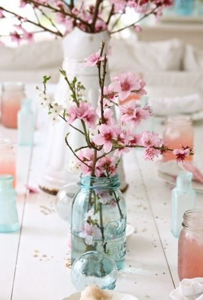 Spring Wedding Cherry Blossom Centerpiece A Few Branches Of Pink Almond Flowers Or Blossoms Sparsely Arranged Into Blue Tinted Mason Jar Is Great