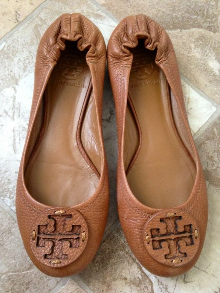 Tory Burch Reva Ballet Flat Womans Size 7.5 M, Thumbled Royal Tan Leather # ToryBurch