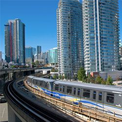 Translink - transit system in Vancouver. 7/11 Day-pass $9.75 to validate w/machine at the station YVR