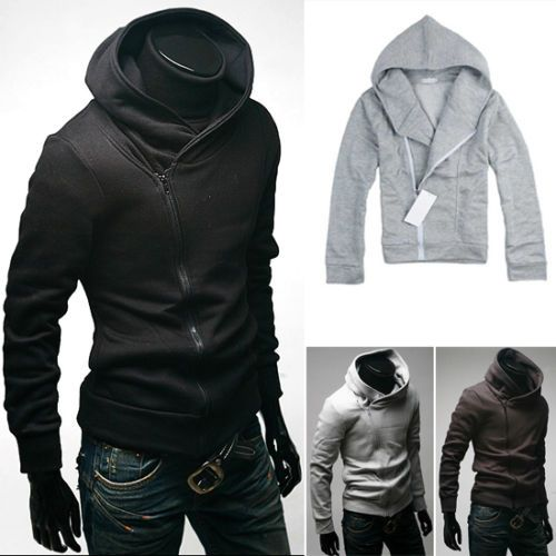New Men Casual Cool Oblique Zipper Hooded Sweatshirt Long Sleeved ...