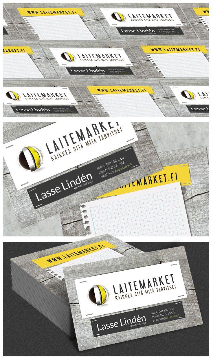 Business card with rustic wood by DmgON www.dmgon.fi Käyntikortti rustiikkihenkisesti, kirjoitustilaa kortin kääntöpuolella. #rustic #wood #black #yellow #sign #DmgON #Laitemarket #identity #identitity card #käyntikortti #branding #businesscards #musta #keltainen #rustiikki