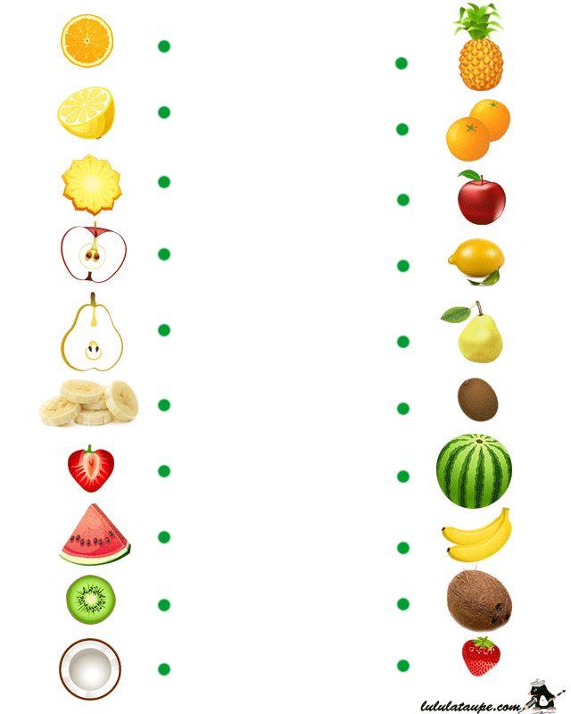 Jeu éducatif à imprimer, les fruits