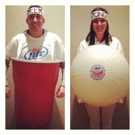 Beer Pong Couples Costume Idea #Funny Couple Halloween Costume Ideas #Halloween   #Costumes #Couples