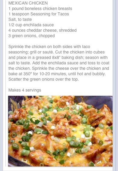 Mexican Chicken--quick and easy; serve with Mexican rice