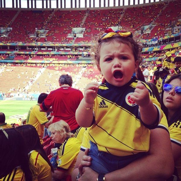 Colombia's James Rodriguez daughter cheers the goal from Team Colombia during World Cup 2014