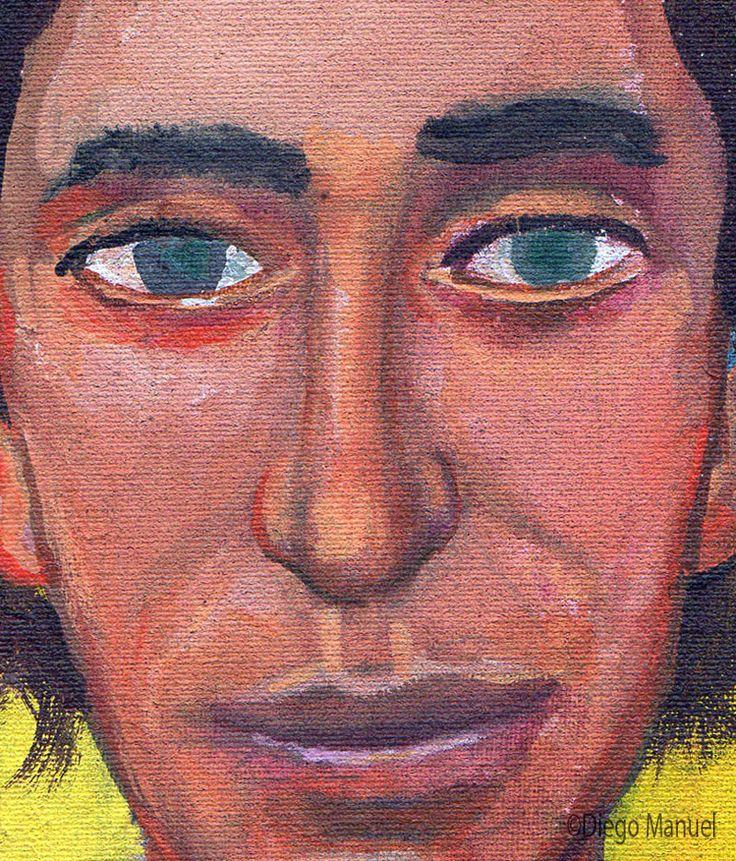 Cerati (retrato) , acrilico sobre tela, 14 x 14 cm, 2015. Venta de pinturas de la serie Rock Nacional Argentino por Diego Manuel