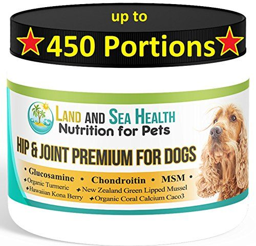 Hip and Joint Premium for Dogs up to 450 Portions with Glucosamine Chondroitin MSM Organic Coral Calcium New Zealand Green Lipped Mussel Hawaiian Kona Berries  Organic Turmeric USA made ** Visit the image link more details. This is an Amazon Affiliate links.