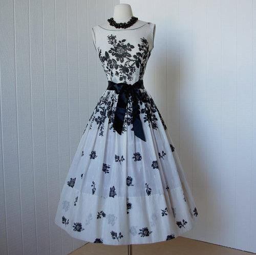 Vintage black and white floral #3