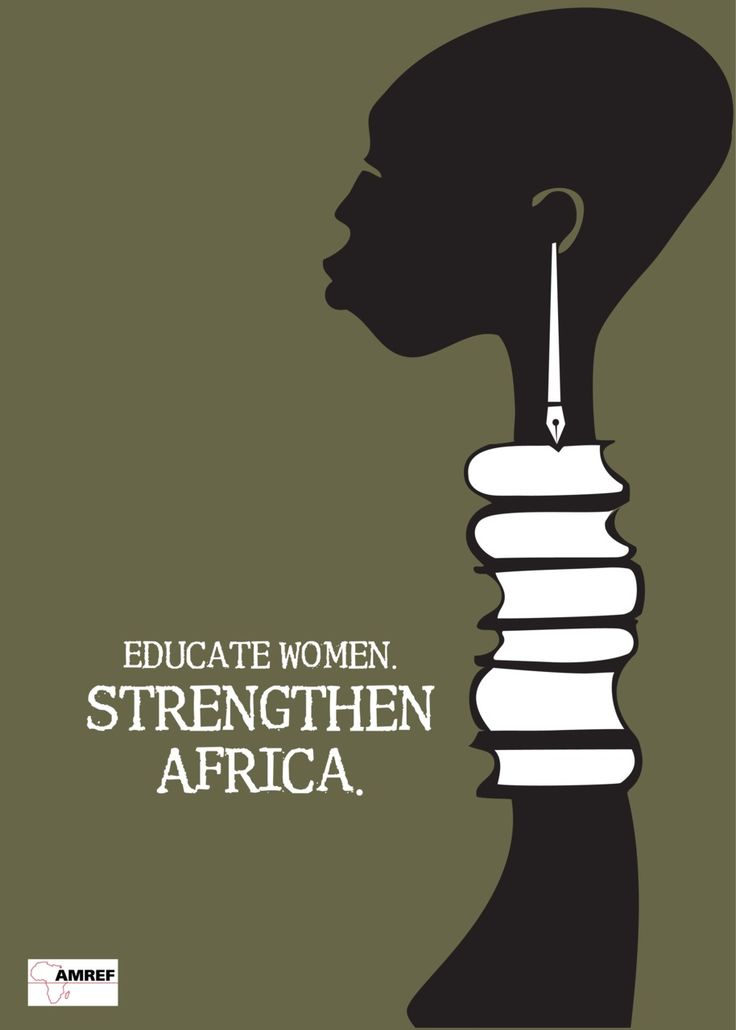 Educate Women - Strengthen Africa (stack of books - silhouette - black and white - forest green - simple - pen and ink - screen print? - African Woman - vectors)