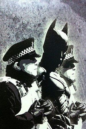 Batman and The Police by Banksy Graffiti Canvas Print #banksy #batman @Romeotees
