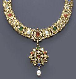 INDIAN GEM-SET AND GOLD NECKLACE