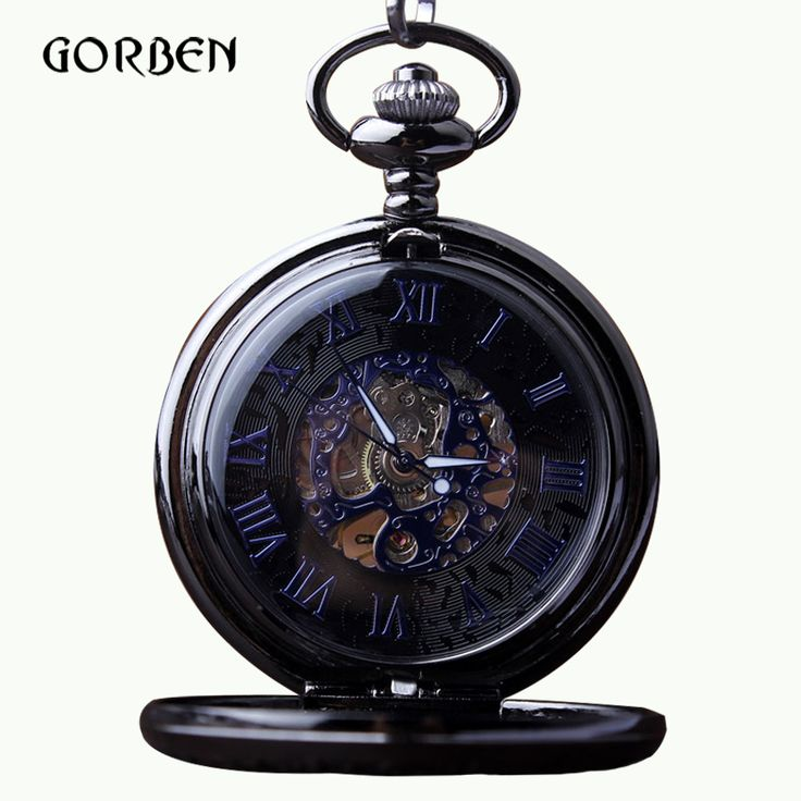 Classic Skeleton Blue Roman Numerals Dial Mechanical Pocket Watch gift box Hand Wind Pocket Watch Fob Chain for Men relojes //Price: $29.98 & FREE Shipping //     #VAPE
