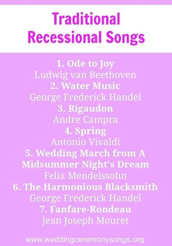 Recessional Songs Traditional Wedding
