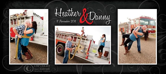 Kara's Koncepts Graphic Design • Custom Wedding Invitations •  4x9 Wedding Invitation Announcement • Firemen  Firefighter Wedding Theme • Photography by Cascio Photography