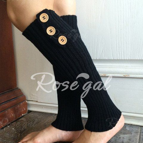 Pair of Chic Big Buttons and Stripy Embellished Knitted Leg Warmers For Women - RANDOM COLOR Mobile