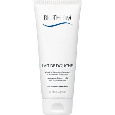 Biotherm's first shower milk with citrus essences. The soap-free milky formula, enriched with ultra-moisturizing agents, gently cleanses and protects skin.