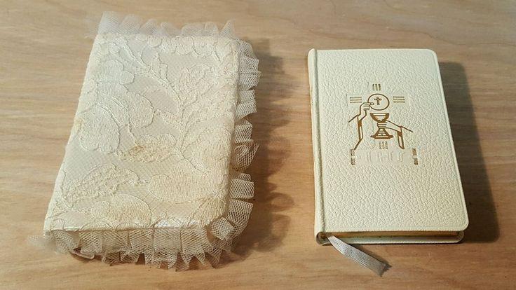 Vtg 1960 MISSAL by Hoever ~ SATIN LACE PROTECTOR Pearlite Illustrated Gilt Trim #Catholic #Missal #Prayer #Book