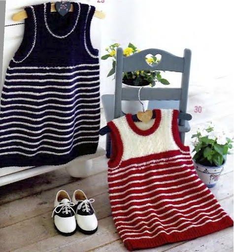 Striped Pinafore Dress free knit pattern