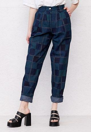VINTAGE BLUE AND GREEN CHECKERED TROUSERS BOTTOMS