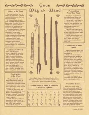 A great reference tool for those exploring the art of creating their own magick wand or personalizing the wand they already possess, this poster provides a fantastic amount of lore and instruction. 8