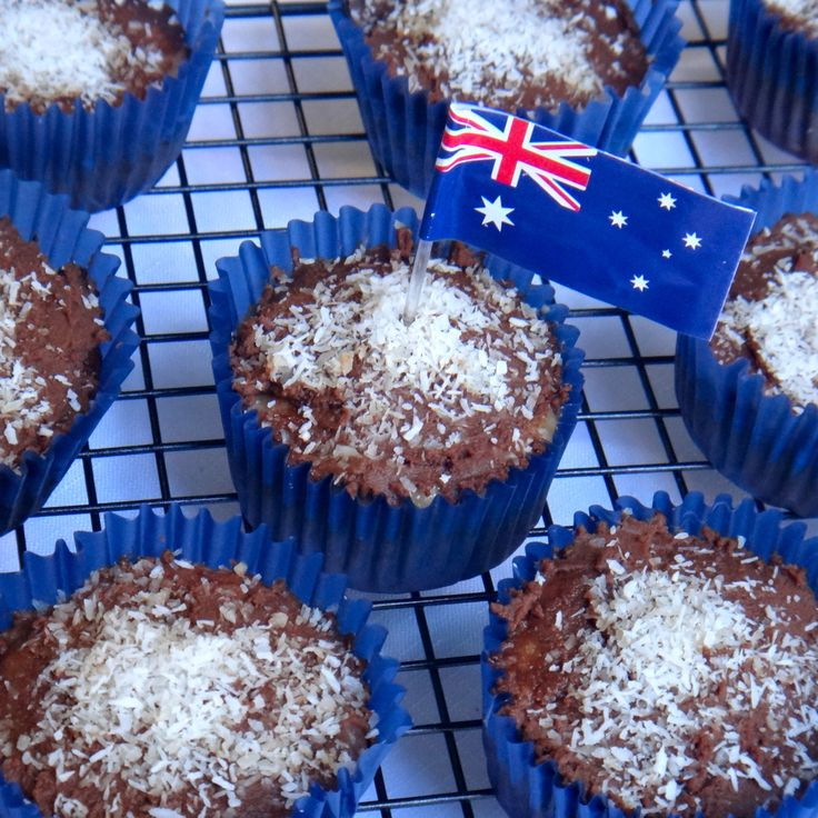 AUSTRALIA DAY LAMINGTON PROTEIN CUPCAKES by Anna McManamey. For this recipe and more fitness food ideas go to: www.facebook.com/amcmanamey