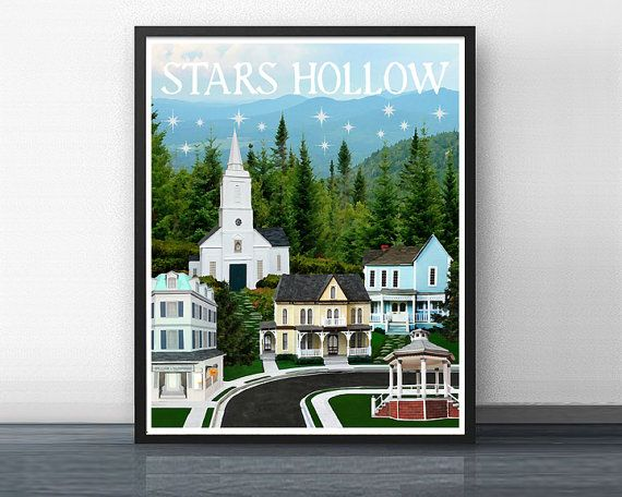 STARS HOLLOW 2 - gilmore girls - art print - rory - stars hollow - coffee - dragonfly - yale - connecticut - mother - daughter - love