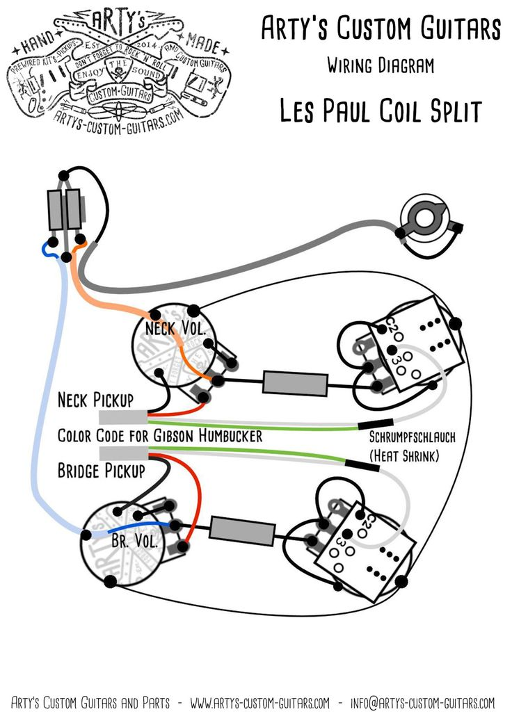 Les Paul Coil Split Prewired Kit mit Bumblebee Caps in