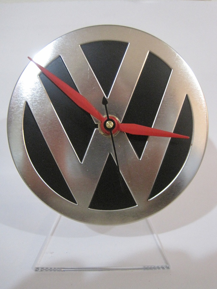 Upcycled VW Volkswagen Coaster Tin Desk Clock w/acrylic stand. $17.99, via Etsy.