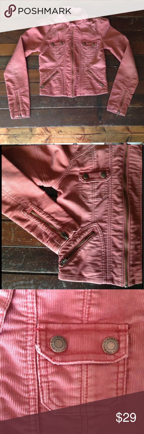 Abercrombie and Fitch Jacket Abercrombie and Fitch Dark blush corduroy zip up jacket Abercrombie & Fitch Jackets & Coats