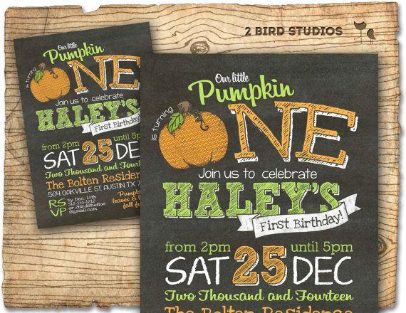 Pumpkin birthday invitation our little pumpkin by 2birdstudios