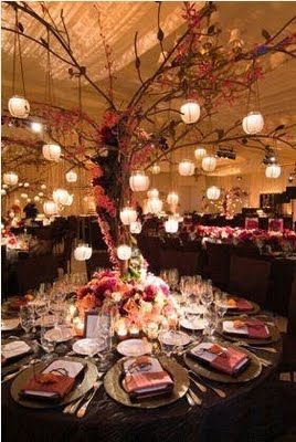 Branch centerpiece w hanging candles