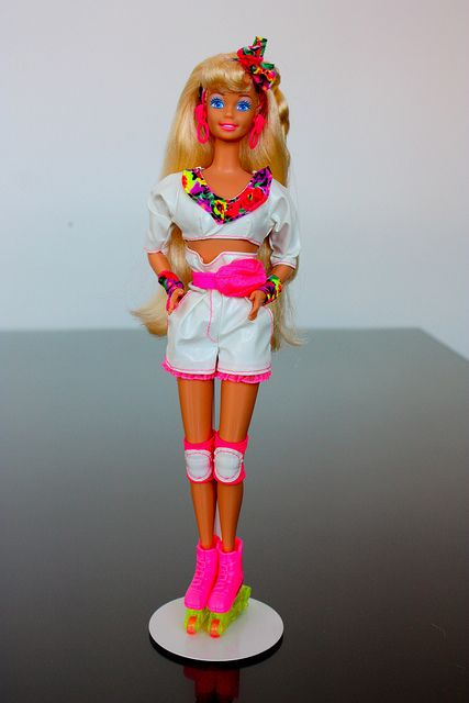Rollerblading Barbie.