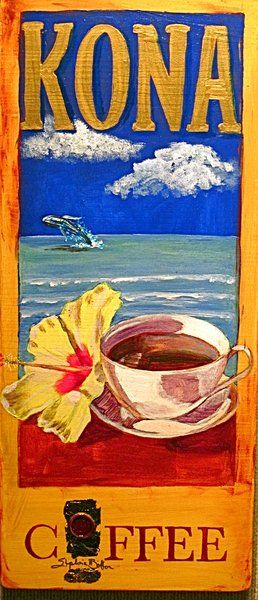 Visiting Hawaii in search of delicious coffees is always a favorite of our Head Roastmaster. Hawaii Artist: Stephanie Bolton - Kona Coffee Artwork