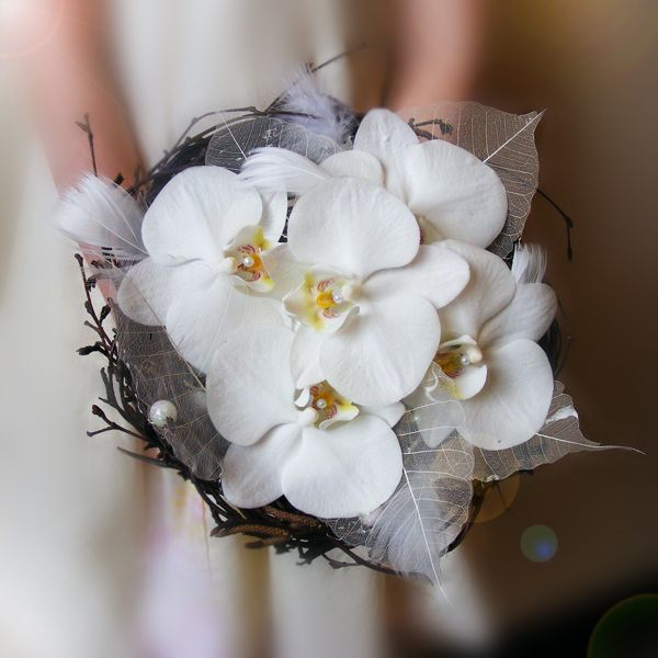 wedding bouquet-nest with white orchids