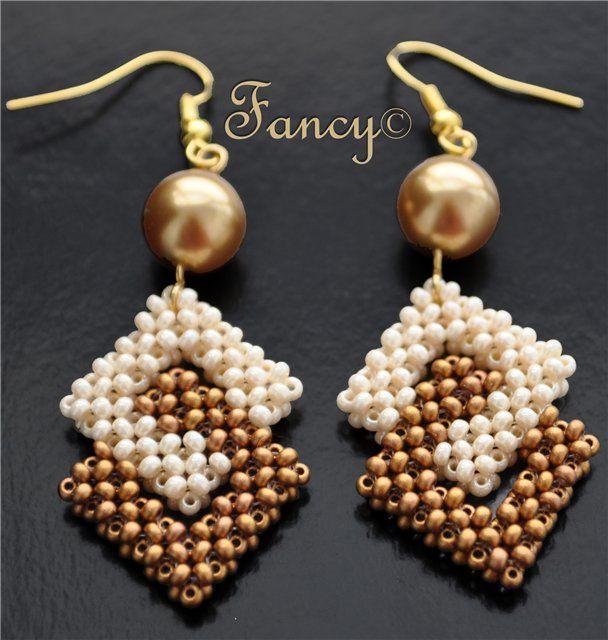 squares linked beaded earrings