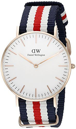 Now available Daniel Wellington Women's 0502DW Classic Canterbury Stainless Steel Watch With Multi-Color Striped Band